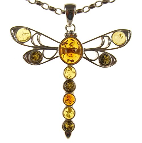 BALTIC AMBER AND STERLING SILVER 925 DRAGONFLY PENDANT NECKLACE JEWELLERY