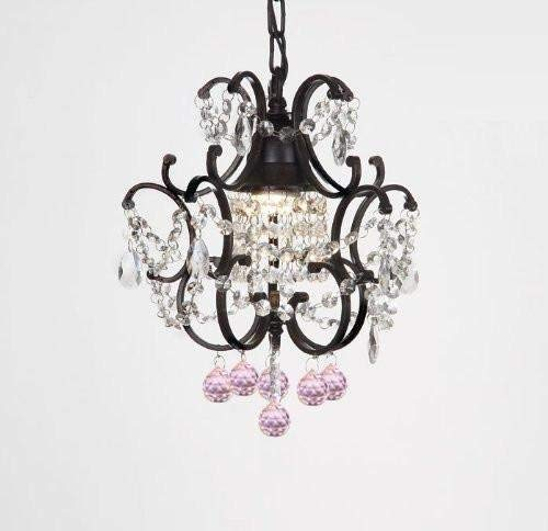 Cheap WROUGHT IRON CRYSTAL MINI CHANDELIER W/PINK CRYSTAL BALLS! H14″ x W11″
