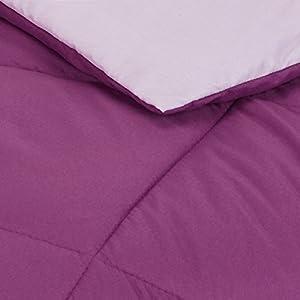 Amazon Basics Reversible Microfiber Bed Comforter, Full / Queen, Plum / Light Purple