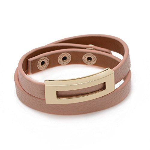 ZX Jewelry Pink Color Leather Double Wrap Belt Adjustable Bracelet Bangles for Women