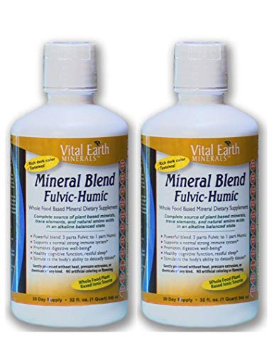2 Pack of Vital Earth Minerals Mineral Blend Fulvic-Humic -32 Fl. Oz. - 1 Month Supply (Each) 64 oz total- Vegan Liquid Ionic Trace Mineral Multimineral Supplement - Almost Tasteless - Plant Based