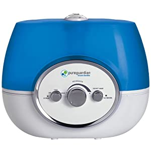 PureGuardian 11L Output per Day Ultrasonic Warm and Cool Mist Humidifier, Single Room, Home, Desk, Office, Bedroom, Baby, Easy Quiet Operation, Night Light, Auto Shut-Off, Pure Guardian H1510