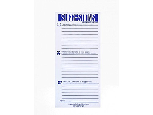 Safco 4231 Suggestion Box Cards, 3-1/2 x 8, White (Pack of 25 Cards)