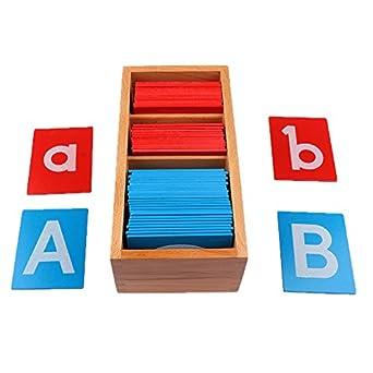 Baoblaze Tarjeta de Alfabeto Montessori de Aprendizaje Temprano de Papel de Lija en Caja Juego de Juguetes de Madera para Niños: Amazon.es: Amazon.es