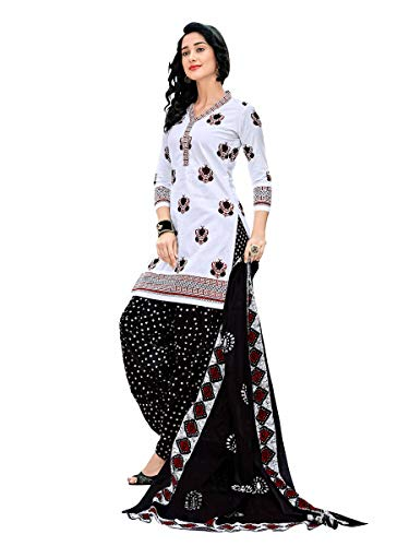 Miraan Women's Cotton Unstitched Dress Material (2428, Free size, white)