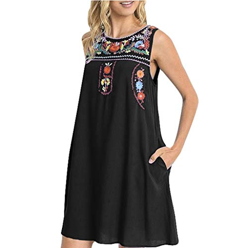Tantisy ♣↭♣ Women's Sleeveless Round Neck National Style Dress Hand Made Embroidery Print Vintage Swing Dress with Pockets Black