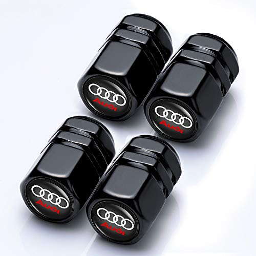 Goshion 4 Pcs Metal Car Wheel Tire Valve Stem Caps for Audi S Line S3 S4 S5 S6 S7 S8 A1 A3 RS3 A4 A5 A6 A7 RS7 A8 Q3 Q5 Q7 R8 TTWith Key Chain Logo Styling Decoration Accessories