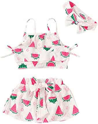 814873ff3a Cuekondy Toddler Girls Kids Bikini Swimsuit Set 2019 Fashion Watermelon  Print Top+Skirt+Headband