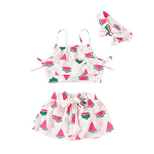 Swimsuit Set for Baby Kids Girls Suspender Watermelon Print Ruffle Vest Bow Skirt with Headbands 3PCS (Pink, Recommended Age:12-18 ()