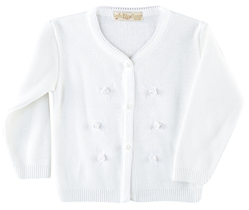 Lilax Baby Girls' Rose Applique Knit Cardigan Sweater 6M White