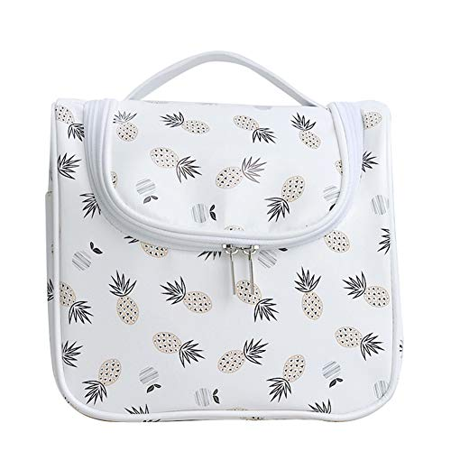 - Hanging Toiletry Bag - Cosmetic Bag Make up Case for Men Women - Large Capacity Waterproof Travel Organizer Kit Accessory With Sturdy Hook for Vacation (White Pineapple)