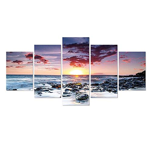 (SuperDecor DIY 5D Diamond Painting Kits Full Drill Diamond Embroidery Sunset Over The Sea by Number Kits for Adults and Kids Home Walls Decor)