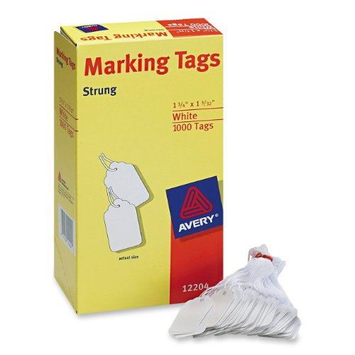 Avery White Marking Tags Strung, 1.75 x 1.093-Inches, Pack of 1000 (12204)