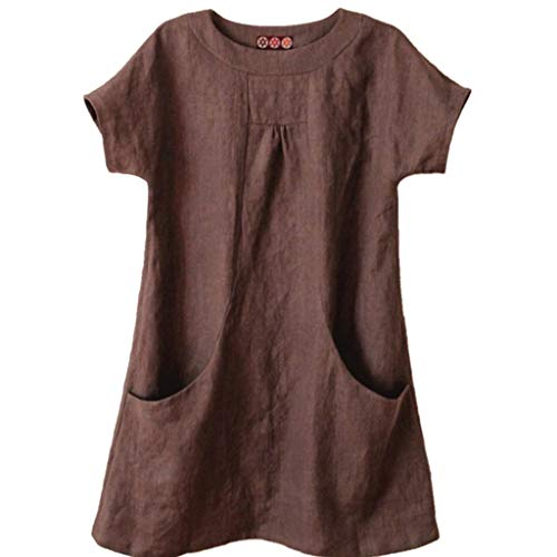 〓COOlCCI〓Women's Casual Linen Round Neck Short Sleeve Tops Blouses with Pocket Loose Tops Blouses Shirt Tees Coffee