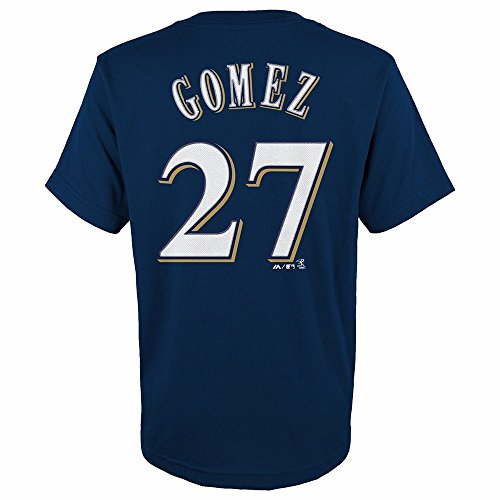 Majestic Carlos Gomez Milwaukee Brewers MLB Youth's Navy Blue Player Name & Number Jersey T-Shirt (BOY14-16_L) (14 Milwaukee Brewers Jersey)