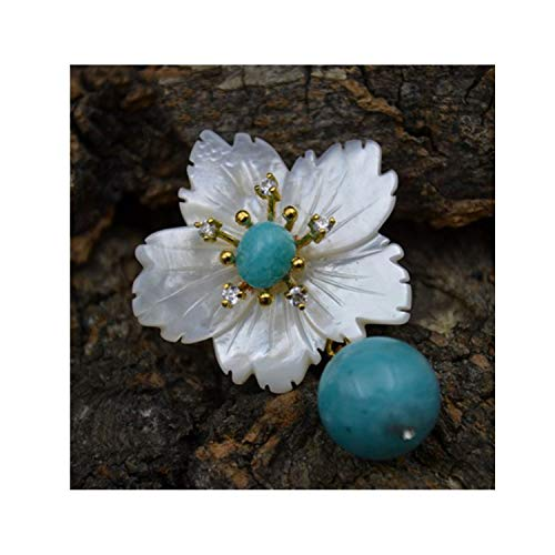 Natural Nacre Flower Brooch Pins Rose Quartz Brooches For Women Dual Use Luxury Fine Jewelry,1