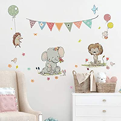 Kids Wall Decals Stickers Nursery Decor Baby Room Decor Nursery Wall Stickers Safari Woodland Scene for Baby Toddler Boys & Girls Rooms Peel and Stick Jungle Animal Balloons Stickers Elephant Lion