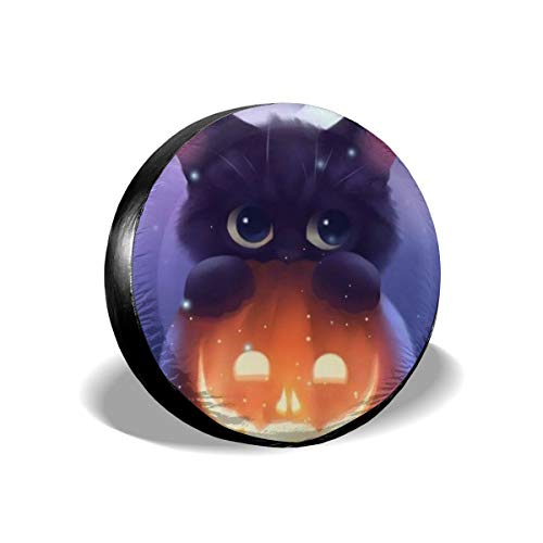 Dreamfy Happy Halloween Pumpkin Cat Spare Tire Cover Universal for Trailer RV SUV Truck Many Vehicle Wheel Weatherproof Wheel Covers Tire Protectors 14 15 16 17 Inch -