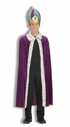 [Forum Mardi Gras King Robe and Crown Set, Purple/Green/Gold, Adult] (King Robe & Crown Set Adult)