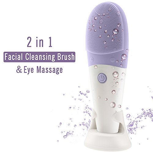 Fujiforintelli Deep Pore Facial Cleansing Brushes & Eye Massage Sonic 2 in 1 Waterproof Soft Silicone Rechargeable Purple by fujiforintelli