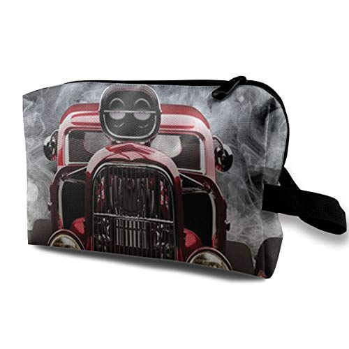 (Huazhuangbaobao American Hot Rod Roadster with Smoke Background Portable Travel Cosmetic Bags Makeup Organizer Bags Large Capacity Toiletry Organizer Cases Travel Pouch Purse)