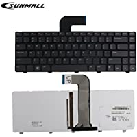 SUNMALL Keyboard Replacement with (Backlit and Frame) for Dell Inspiron 14R N4110 N4120 M4110 N4050 N5040 N5050 M5040 M5050, VOSTRO 1440 1445 1450 1550 2420 2520 3350 3450 3460 (6 Months Warranty)