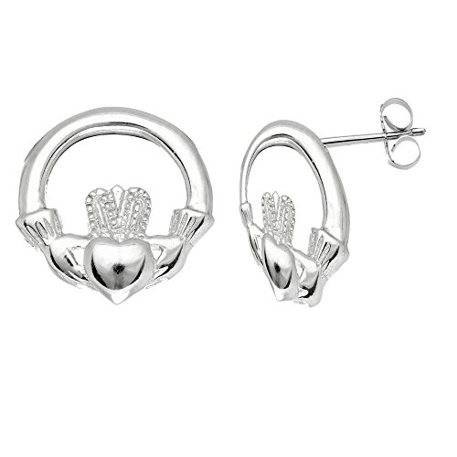 Celtic Claddagh Earrings (Sterling Silver Shiny Textured Round Claddagh Celtic Post Earrings 11 Mm)
