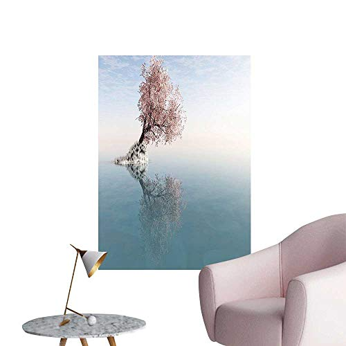 Wall Decoration Wall Stickers Flower Tree in The Lake Reflecti in The Water Magical Scenic Print Artwork,32