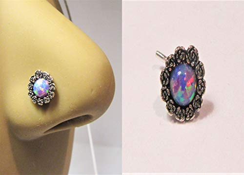 Surgical Steel Lavender Opal Flower Nose Bent L Shape Stud Pin Post 20 Gauge 20g ()