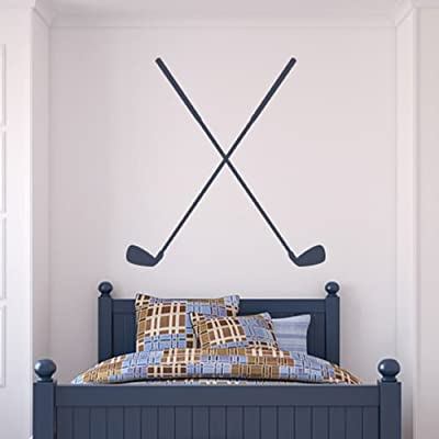 Golf Clubs Crossed Golfing Putting Golf Wall Stickers Gym Sport Decor Art Decals available in 5 Sizes and 25 colors