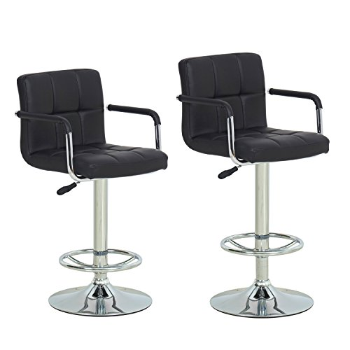 Joveco Cushioned Leatherette Upholstery Adjustable Barstool Armchair Faux Tufted Chrome Finish Pedestal Base Black (Set of 2)