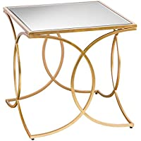 Furniture HotSpot – Geometric Mirrored Side Table - Gold - 22 W x 22 D x 22 H