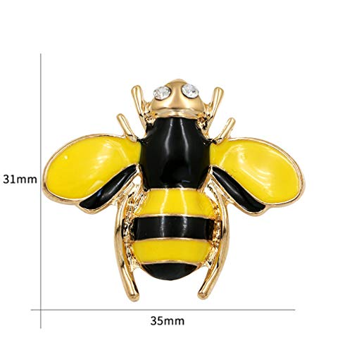 DARLING HER Clear Crystal Rhinestone Small Black Enamel and Gold Bee Brooch for Women Clothes Accessories BR2402