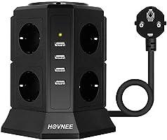 HOVNEE Steckdosenleiste Mehrfachsteckdosen 8 Fach Steckdosenturm (2500W/10A) mit 4 USB Ladeanschlüsse und 2,0 m Kabel...