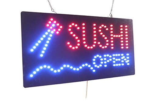 Sushi Open Sign, Super Bright LED Open Sign, Store Sign, Business Sign, Window Sign, LED Neon Sign