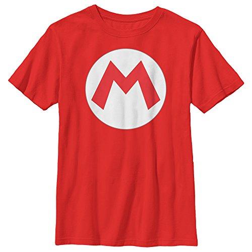 - Nintendo Big Boys Mario Icon Graphic T-shirt, Red, YL