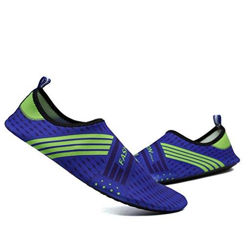 KEESKY Männer Frauen Barfuß Wasser Schuhe Quick Dry Slip Auf Aqua Socken Für Beach Pool Aerobic Grün blau