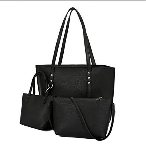 main Dark Gray sac Capacité Brown Grande Pcs 3 De QZTG à Noir À Rivet Light Main Set Purse Bag Set Tout Sacs PU Bags Women's Fourre Grey nCwEdax4