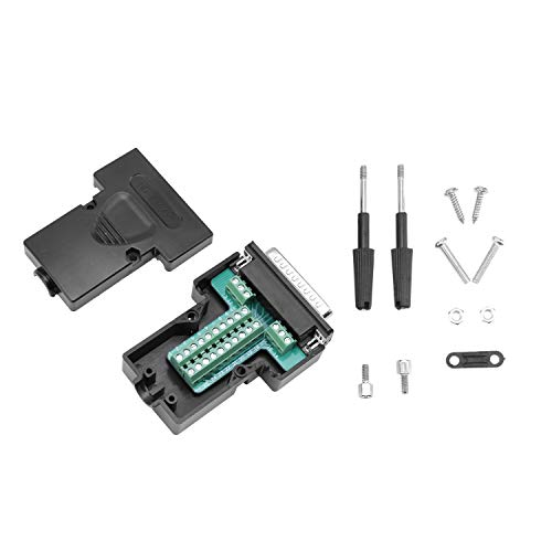 DB25 D-SUB Male Connector 25Pin Port Adapter to Terminal Connector Signal Module Breakout Board Solder-Free with Case (Male)