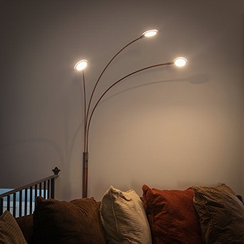 """Brightech - Orion LED Floor Lamp - Dazzlingly Bright \""""Constellation\"""" of 3 Curving Lamp Heads with Orbs of Embedded LED Lights - 13.5 Watts - 1,350 Lumens in Total - Oil Brushed Bronze"""