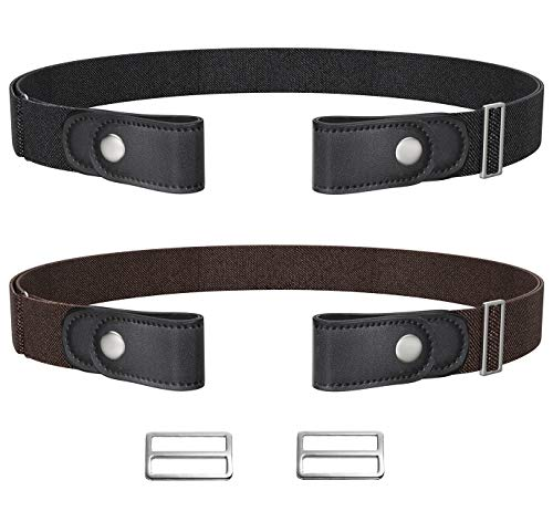 Loritta 2 Pack No Buckle Belt Invisible Adjustable Stretch Buckless Belts Men