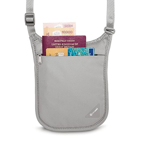 41Nej2TrUpL - Pacsafe Coversafe V75 Anti-Theft RFID Blocking Passport Holder & Neck Pouch / Wallet - Fits up to Four Passports (or iPhone X) plus Credit Cards, for Women & Men (Neutral Grey)