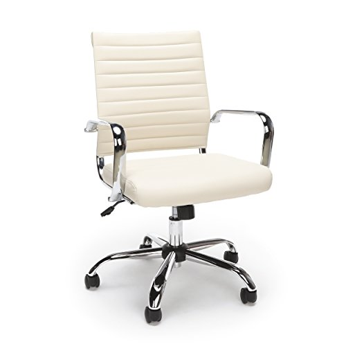 Essentials Soft Ribbed Leather Executive Conference Chair with Arms – Ergonomic Adjustable Swivel Chair, Ivory/Chrome (ESS-6095-IVY)