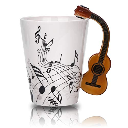 Novelty Guitar Music Unique Handle Art Musical Notes Holds Tea Coffee Milk Ceramic Mug Cup 12.9 oz Best Gift,Black ()