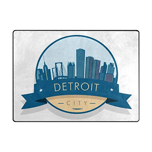 Senya Doormat Outdoor Mats Entrance Waterproof Rugs Detroit Building Non Slip Front Door Carpet for House Hotel Patio Garage ()