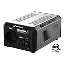 KRIËGER 450 Watt Voltage Transformer 120V to from 230V AC outlet American European Step up down Converter 50 60 Hz outlets includes IEC German Schuko Nema 5-15P cord connection MET certified approved under UL CSA ULT450