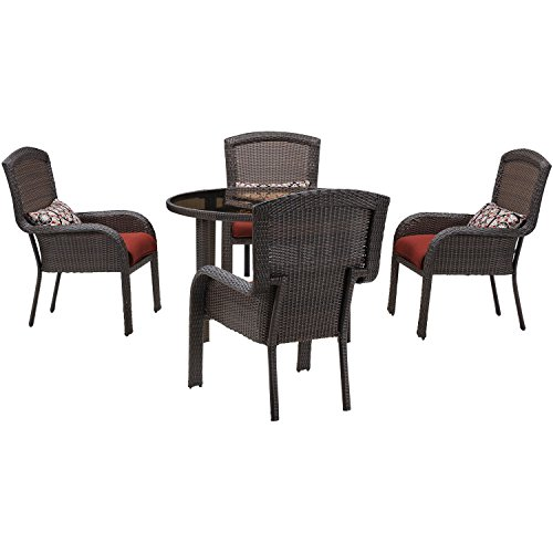 Hanover Strathmere Series Dining Set (5-Piece) Crimson Red STRADN5PC-RED