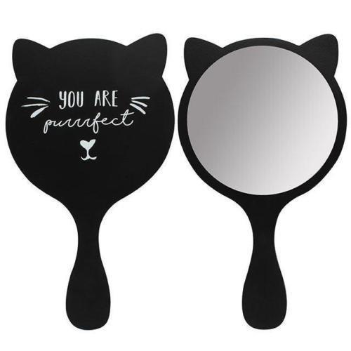 Hunky Dory Gifts Regalo accessorio amante dell'animale domestico dello specchio di trucco tenuto in mano del gatto nero