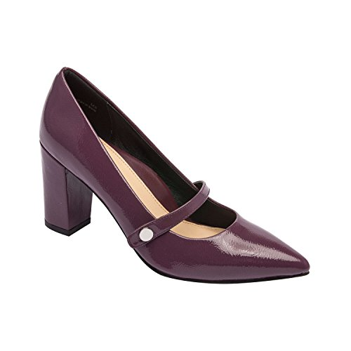Flora - Pointy Toe Mary Jane Block Heel Vegan Pump Comfortable Insole Padded Arch Support Boysenberry Vegan Wrinkle Patent 5M