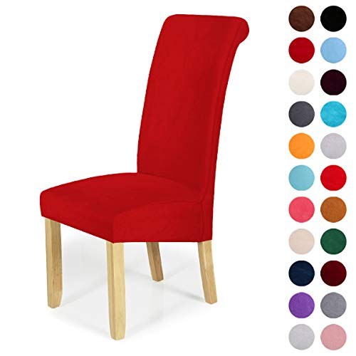 Velvet Stretch Dining Chair Slipcovers - Spandex Plush Short Chair Covers Solid Large Dining Room Chair Protector Home Decor Set of 2, Red (Going From Brown To Red Hair At Home)